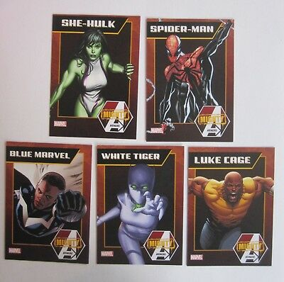 lot of 64 MARVEL mighty avengers cards 2013 NYCC SPIDEERMAN BLUE MARVEL +++++