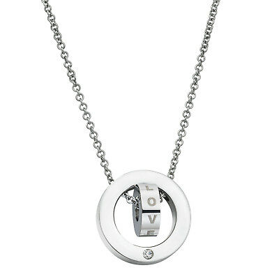 316L Stainless Steel Personalized Double Ring Pendant CZ Rolo Chain Necklace