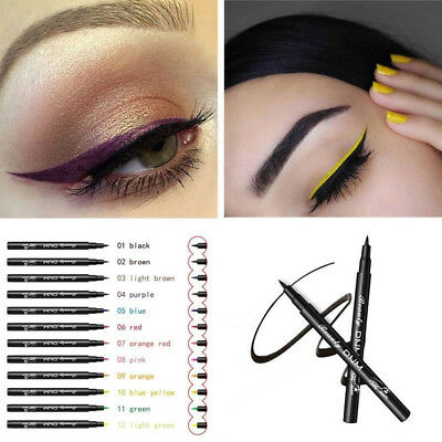 Matte Eyeliner Waterproof Liquid Long Lasting Eye Liner Pen Party Eye 12 colors
