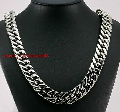 Big 15mm 24'' Men's Large Stainless Steel Heavy Chunky Curb Link Necklace Chain