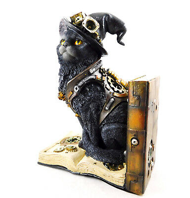 Cat Steampunk Figure Bookend Statue Figurine Ornament Purring Pioneer