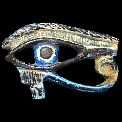 Beautiful Large Ancient Egyptian Blue Eye Of Horus Plaque 300 Bc (1) 8.5 Cm Wide