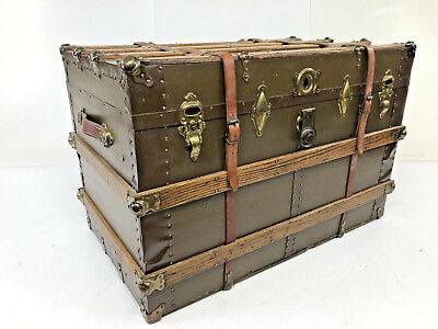Vintage BROWN STEAMER TRUNK industrial storage chest coffee table train luggage