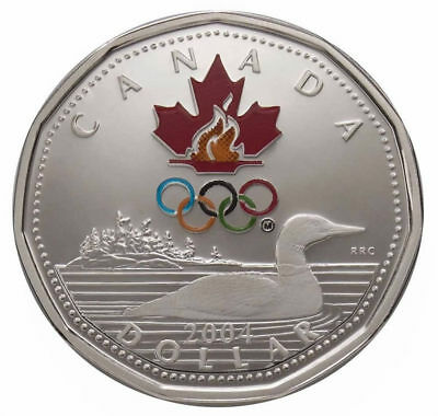 Canada 2004 $1 Lucky Loonie Sterling Silver Dollar 2002 Salt Lake City Olympics