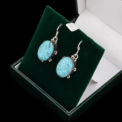 Antique Vintage Art Deco Sterling 925 Silver Carved Chinese Turquoise Earrings