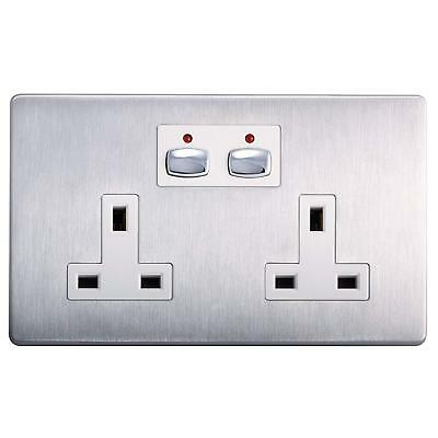 Energenie MIHO023 Remote And App Controlled Brushed Steel Double Wall Socket