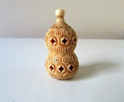 Antique Asian Chinese Bovine Bone Carved Perfume Scent Snuff Bottle Aromatizer
