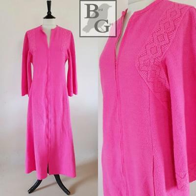 Hot Pink 1970S Vintage Towelling Long Maxi Bathrobe Dressing Gown Robe 10 S a0d7c09a0