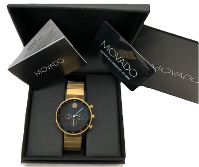 Movado Edge Chronograph Black Dial Gold Tone Stainless Steel Men's Watch