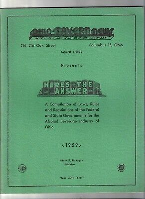 1959 OHIO TAVERN NEWS, Laws, Rules for Alcohol Beverage Industry. Price Lists