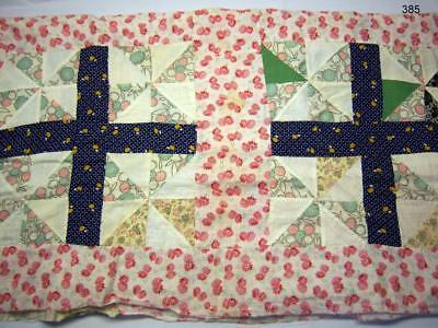 """Vintage - Hand Sewn - Unfinished - Scrappy Quilt Top - 74"""" x 78"""""""