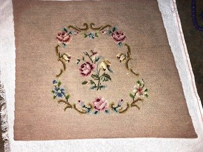 """Vintage Needlepoint Chair Seat Cover Floral 21"""" X 20"""" Full Size Approx"""
