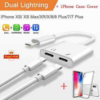 Dual Lightning Charger Splitter Cable Adapter + Case Cover For iPhone XS MAX XR