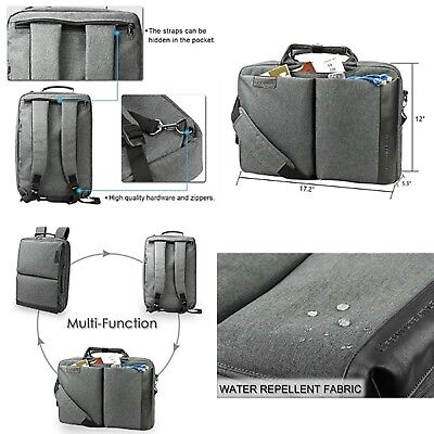"Laptop Briefcase Backpack 15.6"" Water Repellent Daypack Multi Convertible New"
