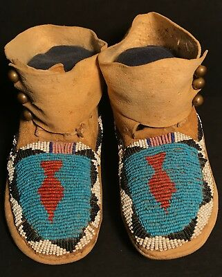 Late 19th C PLAINS BEADED CHILD'S MOCCASINS, BRASS BUTTONS, EXCELLENT CONDITION!