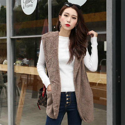 Womens Fleece Waistcoat Vest Plush Gilet Coat Jacket Sleeveless Outwear Tops New