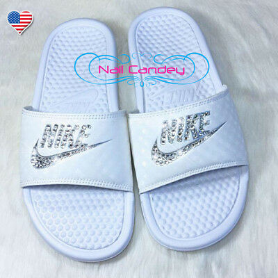 e4b5d899aa42 RHINESTONES SWAROVSKI FOR Nike Sandles Shoes Glitter Kicks Slippers ...