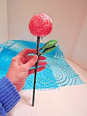 """RARE Long Stem Pink Blown Glass Rose Collectible, 10.5"""" Long, Unbranded, NWOT"""