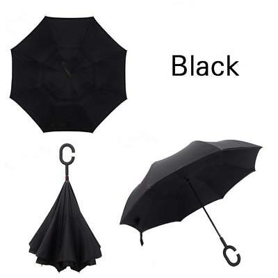 Double Layer Inverted Umbrella with C-Shaped Handle Anti-UV Waterproof Windproof