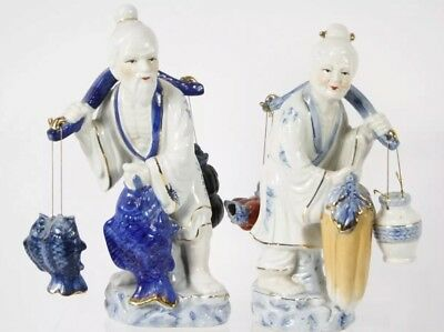 2 Ceramic Figurines Elderly Asian Couple Fishing and Carrying Water Jug