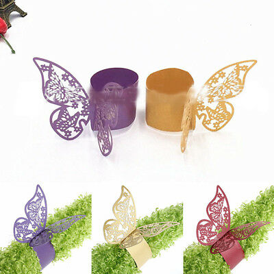 Multicolor Butterfly Shape Hollow Napkin Ring Wedding Towel Napkin Decor Supply