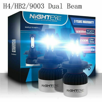 Nighteye 2X 72W 9000LM H4 LED Headlight Kit Hi/Lo Beam Globe Bulbs 6500K White
