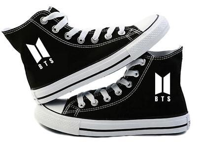 NEW BTS High-top Sneakers Black Canvas Shoes Unisex Summer Spring Autumn