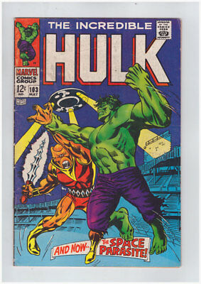 Incredible Hulk # 103  And Now... The Space Parasite !  grade 5.0 scarce book !