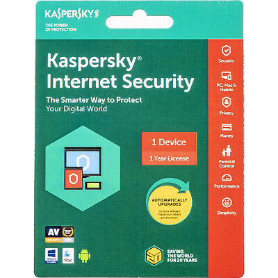 Kaspersky internet security 2019 1 Device 1 Year ( PC - Mac - Android )