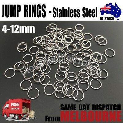100x 304 Stainless Steel Closed But not Soldered Jump Rings Stainless 4-12mm
