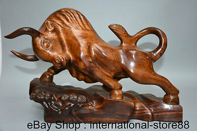 """15"""" Chinese Redwood Carving Feng Shui Wall Street Bull Oxen Strong Lucky Statue"""