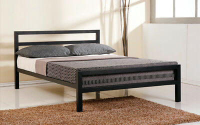 Double Bed 4FT6 - Grey / Black / White Metal Bed Bedroom Stylish City Block