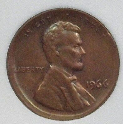 1966 Lincoln Cent -Broadstruck Mint Error- Near Gem Uncirculated Br