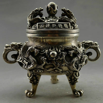 Collectible Ancient Old Handwork Tibet Silver Carved 6 Dragon Incense Burner