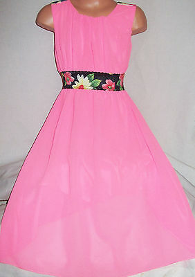 Girls Neon Pink Floral Trim Grecian Style Chiffon Full Length Maxi Party Dress