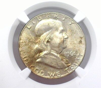1961-D Franklin Silver 50 Cents  Ngc Ms64 Looks 66!