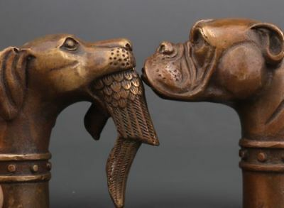 2 Bronze Dog Head Handle Crutch Dog Head Preying Statue Walking Stick Cane Head