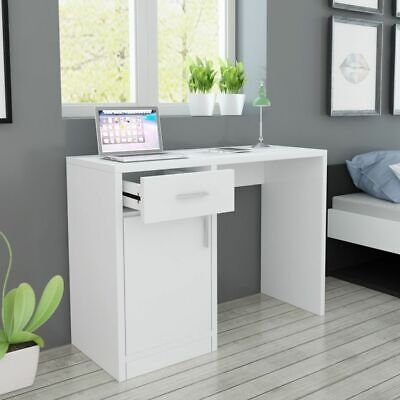 vidaXL Desk with Drawer and Cabinet White 100x40x73cm Computer Writing Table