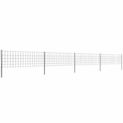 vidaXL Step-In Fence 50 m with Post Galvanised Wire Fence 80/6/15 Garden Mesh