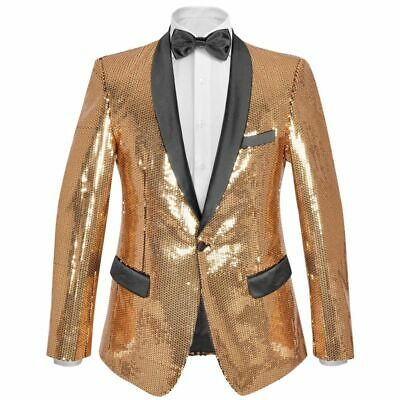 vidaXL Men's Sequin Dinner Jacket Tuxedo Blazer Gold Size 48 with Black Tie
