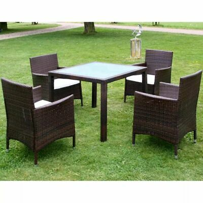 vidaXL Outdoor Dining Set 9 Pieces Poly Rattan Brown Glass Tabletop Garden