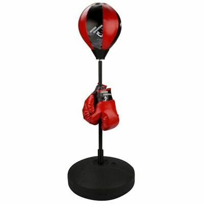 Avento Junior Reflex Punching Bag Ball Set Black/Red 41BE Speed Ball Gloves