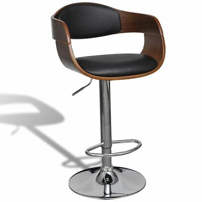vidaXL Swivel Bar Stool Bent Wood and Faux Leather Office Kitchen Cafe Seat