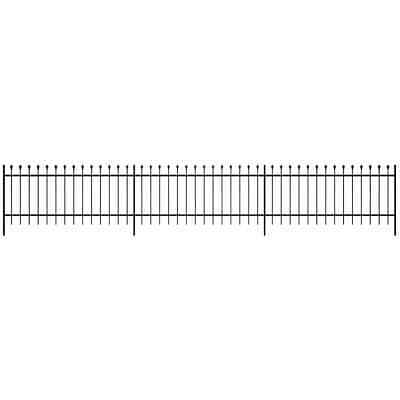 Ornamental Security Palisade Fence Steel Black Pointed Top 60 cm