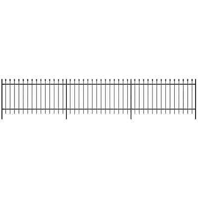 Ornamental Security Palisade Fence Steel Black Pointed Top 100 cm