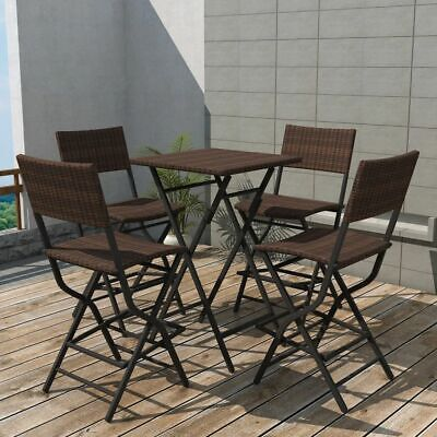 vidaXL Outdoor Dining Set 5 Pieces Poly Rattan Brown Folding Bar Table Chairs