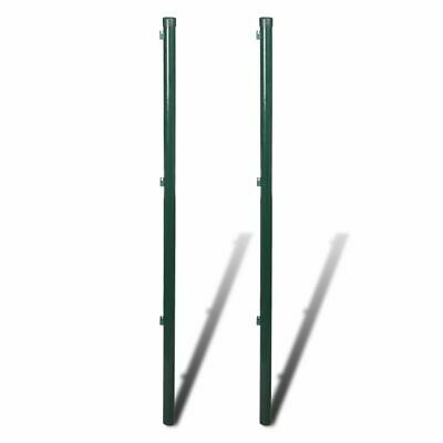 vidaXL 2x Fence Post 115cm Iron Garden Fencing Stakes Rail Support Holder