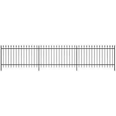 Ornamental Security Palisade Fence Steel Black Pointed Top 120 cm
