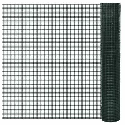 Square Wire Netting 1x10 m PVC-coated Galvanized Mesh Size 16x16 mm