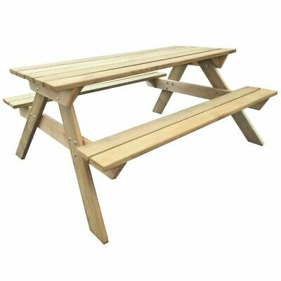 vidaXL Picnic Table 150x135x71.5cm FSC Wood Outdoor Furniture with Benches